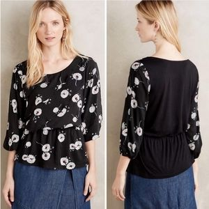 Anthropologie Deletta Wished Bloom Floral Top